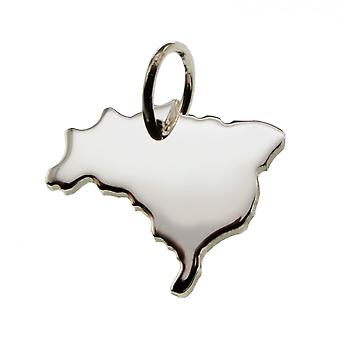 Trailer map Brazil pendant in solid 925 Silver