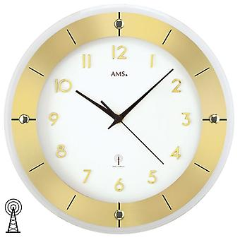 Radio controlled wall clock clock radio clock around mineral glass aluminium Ø 31 cm AMS