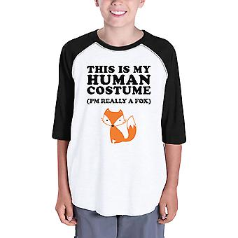 This Is My Human Costume Funny Halloween Baseball Shirt For Kids