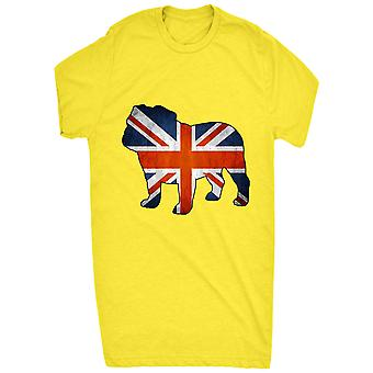 Bulldog británico reconocido con la bandera de Gran Bretaña dentro de