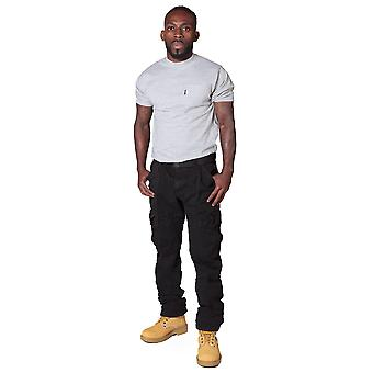 Men's Cargo Trousers with belt - Black Black cargo pants fashion trousers men's