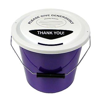 6 Charity Money Collection Buckets 5 Litres - Purple