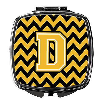 Carolines Treasures  CJ1053-DSCM Letter D Chevron Black and Gold Compact Mirror