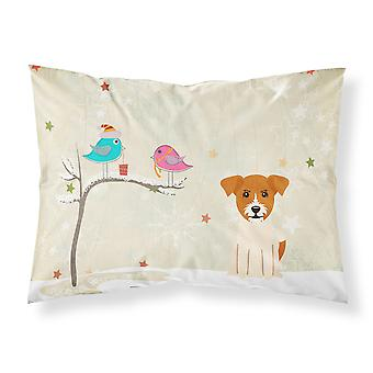 Christmas Presents between Friends Jack Russell Terrier Fabric Standard Pillowca