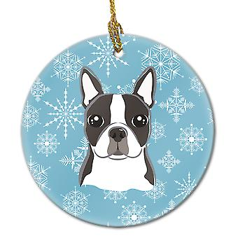 Carolines Treasures  BB1637CO1 Snowflake Boston Terrier Ceramic Ornament