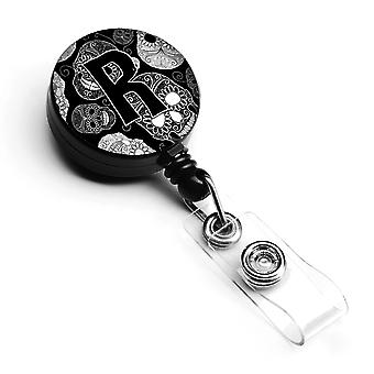 Letter R Day of the Dead Skulls Black Retractable Badge Reel
