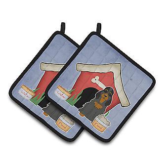 Dog House kolekcja Cocker Spaniel czarny Tan parę łapki