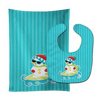 Carolines Treasures  BB9077STBU Beach Snowman Surfer #2 Baby Bib & Burp Cloth
