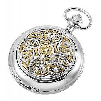 Woodford Glit Celtic Quartz Chain Pocket Watch - Silver/Gold