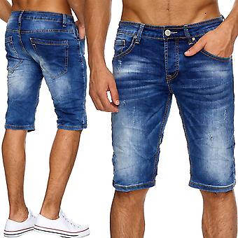 Men's jeans short mens shorts Stonewashed ripped pants cut denim ripped new
