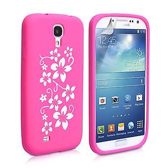 Yousave accesorios Samsung Galaxy S4 Gel Floral caso - rosa