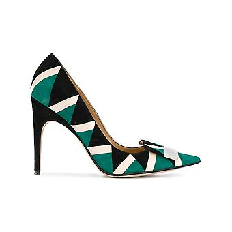Sergio Rossi ladies A78951MFN2413711 green leather pumps