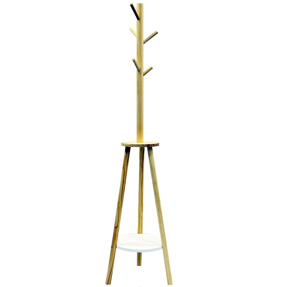 South - Retro Scandi Wood Coat Rack With 5 Pegs And Storage Shelves - White / Brown