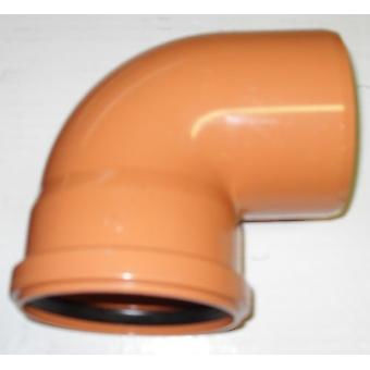 Soil Pipe 90 Degree Bend 110 mm Inlet - Push Fit - Brown - Waste