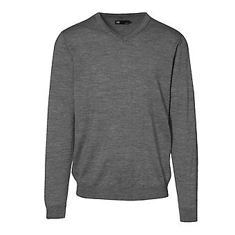 ID Mens Fitted Knitted V-Neck Pullover Sweatshirt/Jumper