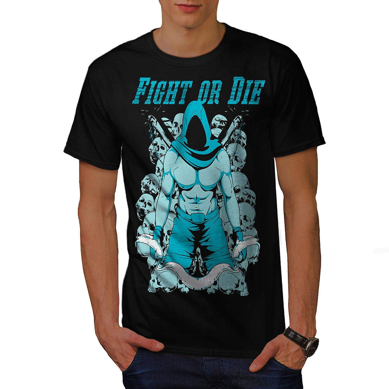 Fight Or Die Gym Sport Men Black T-shirt | Wellcoda