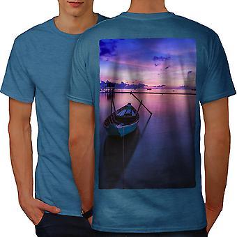 Boat Beautiful Sky Men Royal BlueT-shirt Back   Wellcoda