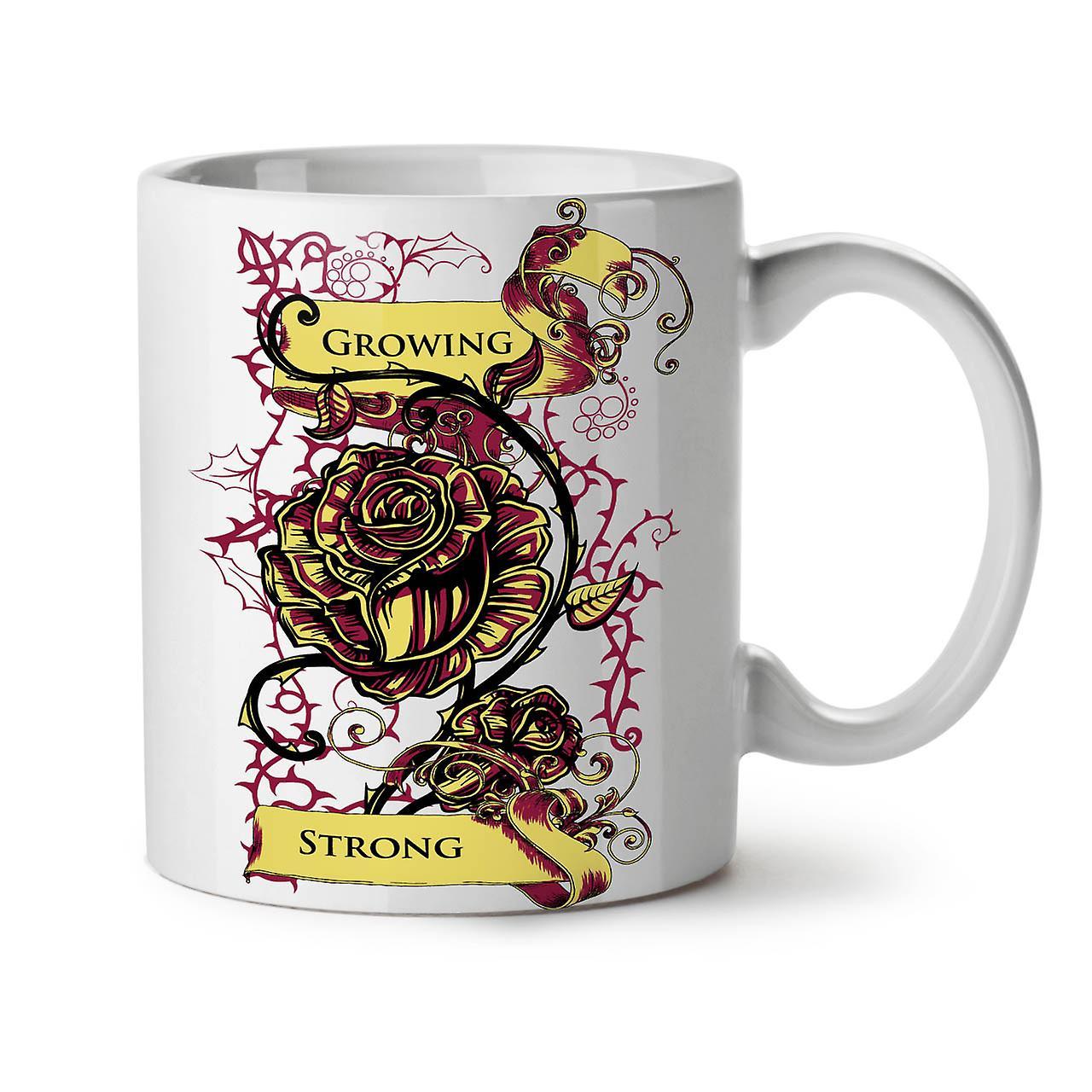 Growing Strong Slogan NEW White Tea Coffee Ceramic Mug 11 oz   Wellcoda