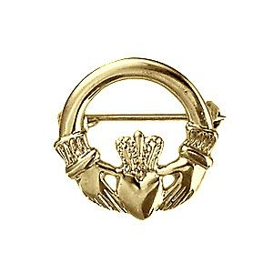 9ct Gold-22mm Claddagh Brosche