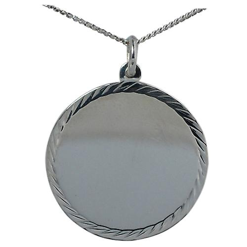 Silver 26mm round diamond cut edge Disc with a curb Chain 18 inches