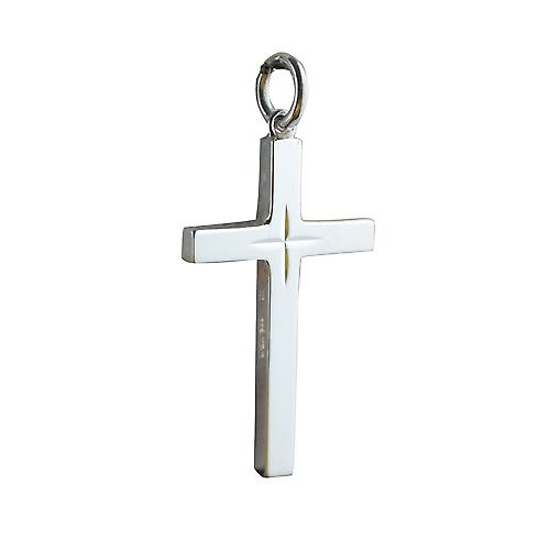 Silver 30x18mm Star cut block Cross