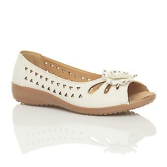 Ajvani dame lav hæl flad kile komfort sommer skåret ud sandaler sko