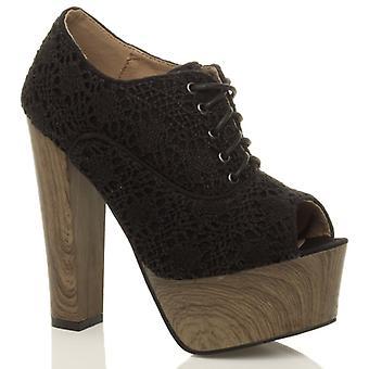 Ajvani dame høj blok hæl platform blonder mesh Hæklet ankel støvler peep toe sko støvletter