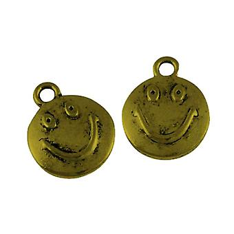 Packet 5 x Steampunk Antique Bronze Tibetan 15mm Face Charm/Pendant ZX16215
