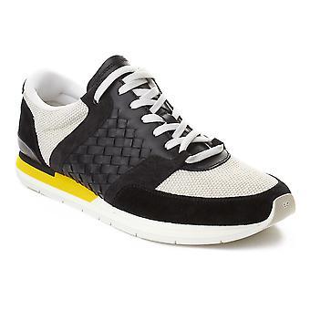 Bottega Veneta mænds Intrecciato læder Sneaker træner sko sort gul