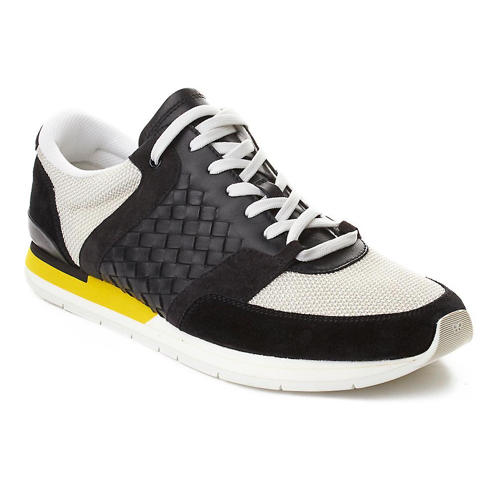 Bottega Sneaker Veneta Men's Intrecciato Leather Sneaker Bottega Trainer Shoes Black Yellow 7a6554