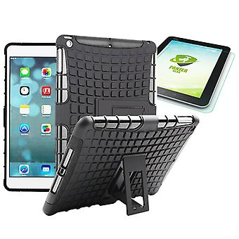 Hybrid outdoor protective case black for iPad air 1 bag + 0.4 H9 tempered glass