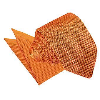 Mandarine tricoté cravate Slim & mouchoir de poche mis