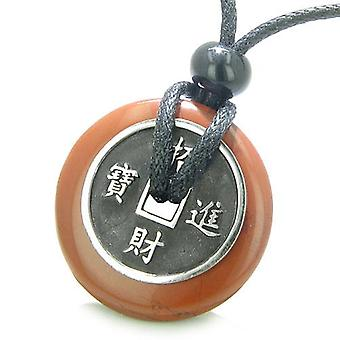 Amulet Lucky Coin Charm Donut Red Jasper Good Luck Powers Antiqued Pendant Necklace