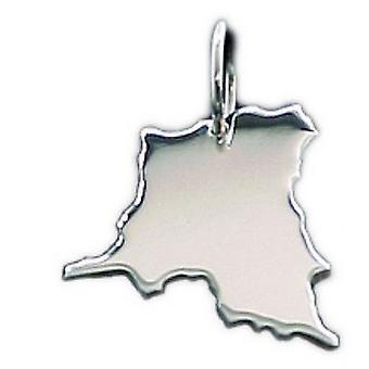 خريطة الكونغو الديموقراطية فضة 925 الصلبة قلادة قلادة