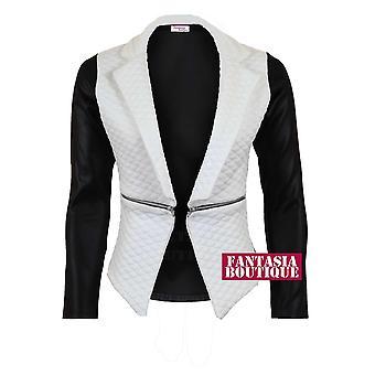 Ladies Quilted PVC Wet Look Long Sleeve High Low Zip Women's Jacket Blazer