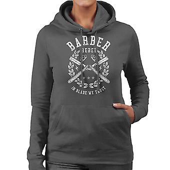 Barber Rebel Retro Logo Women's Hooded Sweatshirt
