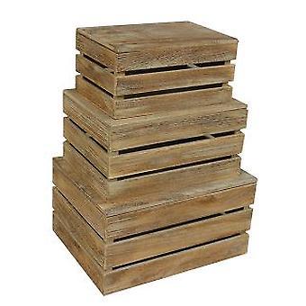 Oak Effect Slatted Lidded Wooden Storage Box Set 3