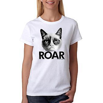 Grumpy Cat Roar Women's White Funny T-shirt