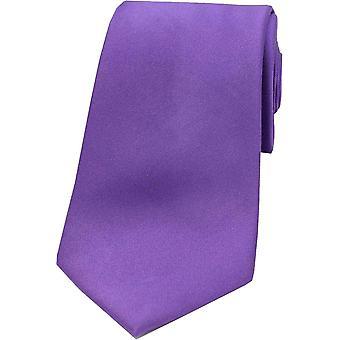 David Van Hagen Satin Silk Tie - Purple