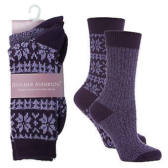 Las señoras Jennifer Anderton arranque punto gruesos calcetines Pack de 2