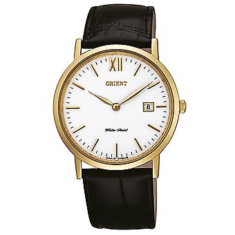 Orient men's watch with genuine leather strap gold