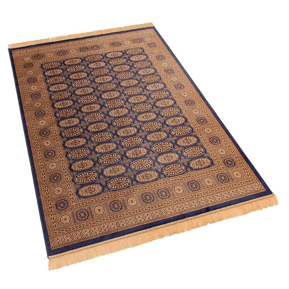 Blue Persian Bokhara Artsilk Faux Silk Effect Rugs 8438/9 140 x 200cm