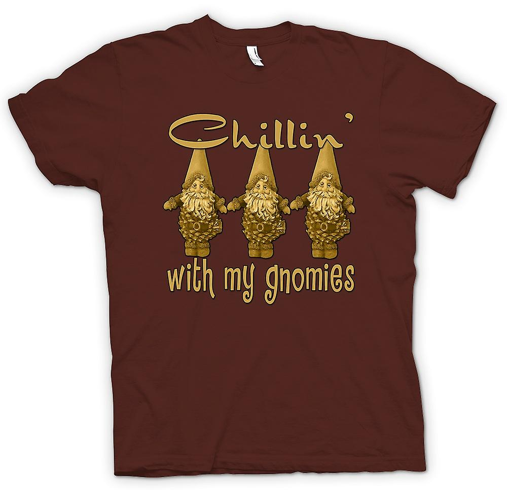 Mens T-shirt - Chillin With Gnomies - Funny