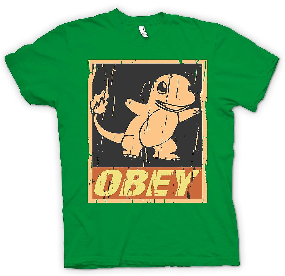 Mens T-shirt - Charmande Obey - Cool Pokemon Inspired