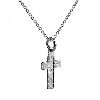 Silver 15x11mm hand engraved flat latin Cross with a rolo Chain 22 inches