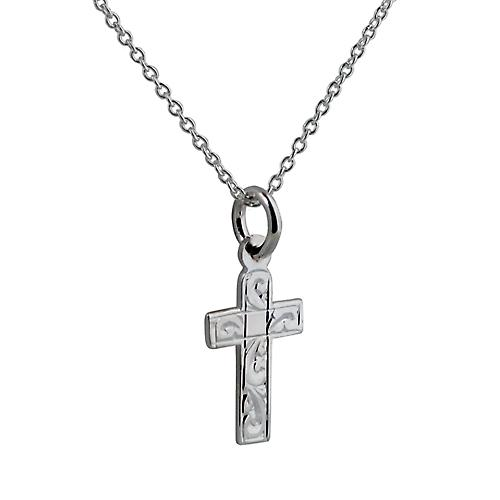 Silver 15x11mm hand engraved flat latin Cross with a rolo Chain 14 inches Only Suitable for Children