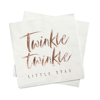 Rose Gold Twinkle Party Paper Napkins x 16 - Baby Shower - Christening