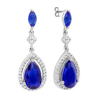 Bertha Juliet Sammlung Frauen 18 k WG verchromt blau Teardrop Fashion Ohrringe