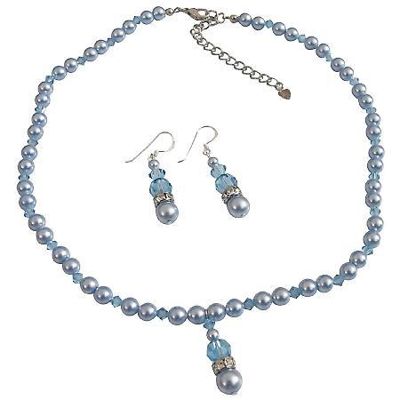 Blue Aquamarine Swarovski Pearls Aquamarine Crystals Wedding Jewelry