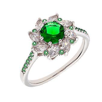 Bertha Juliet Collection Women's 18k WG Plated Green Flower Fashion Ring Size 5